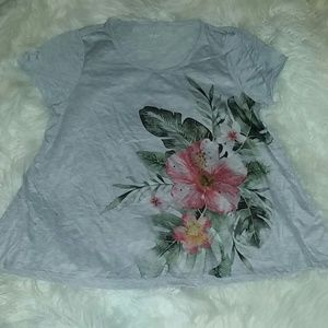 Styles & Co. A LINE 1X Grey Pink Floral T Shirt